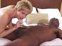 Blonde milf is ready to party with a black stud