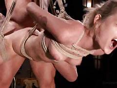 Blonde bound with legs spread gets fucked