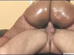 Booty ebony babe cherokee gets fucked by two cocks