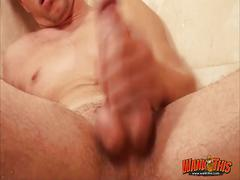 Sweet and horny stud jimmy jerks off in shower.