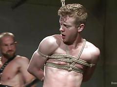 Kinky executor plays with his gay sex slave