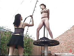 milf, lesbians, outdoor, whipping, shaved, tied up, water bondage, water bondage, kink, sarah blake