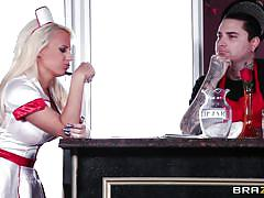 blonde, babe, costume, blowjob, big boobs, cafe, waitress, roleplay, big tits in uniform, brazzers network, voodoo, jacky joy