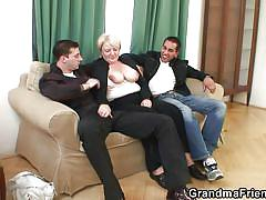 blonde, threesome, big tits, mature, hand job, natural tits, grandma friends, ilona x