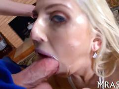 Blonde babe with sweet boobs loves anal and deepthroat oral