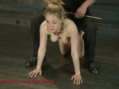 Blonde surprised and suspended in the air