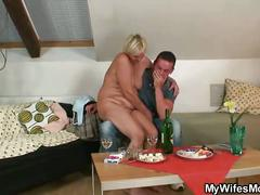 He finds his gf's mother naked and fucks her