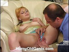 Daddy hubert plays with christina's young fanny