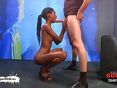 Slim ebony zara collecting a fine amount of jizz