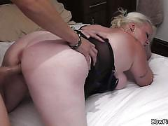 Bbw blonde in black lingerie gets banged very hard