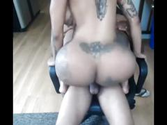 Big fake booty ebony rides bbc