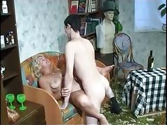 Beautiful mom with saggy tits, hairy pubis & guy