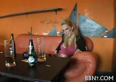 Blonde babe at the coffee shop masturbates her cunt