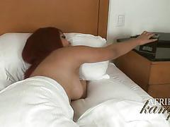 Latina shemale afrika kampos jerks off in the bed