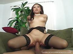 Asian hottie slammed by hung black man