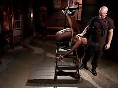 Sexy ebony chick tasting her first bdsm session