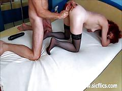 Redhead mature sucks cock and gets fisted hard