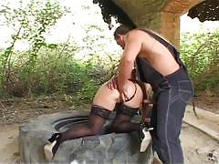 Horny granny drilled outdoor by young dick