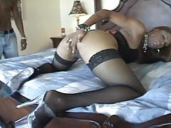 Thick & black ebony chick with fishnets likes anal fuck