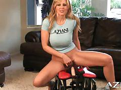 Milf julia ann rides the rocker for the first time