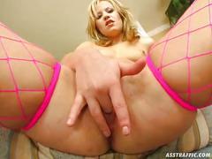 Ass traffic hot blonde favors ass play, takes big dick up the butt