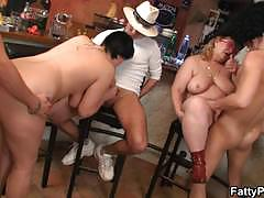 Two mature bbw having group sex at the bar
