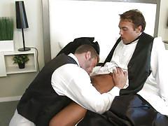 Bridegroom sucks his best man's dick