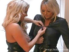 Busty blondes dannii and lucy covered in leather