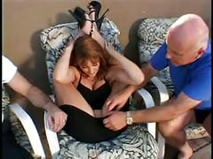 Busty brunette sucks cock while getting fucked on lounge chair