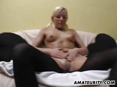 Amateur young girlfriend shaves pussy and gets cum on tits