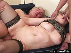 Horny granny fucked from both ends