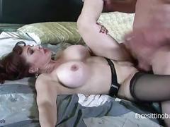 Dominant mature slut loves jerking cocks with her feet