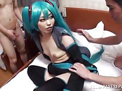 Japanese dressed kinky gets ganged
