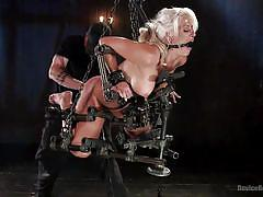 milf, blonde, bdsm, big tits, vibrator, fingering, suspended, bondage device, ball gag, device bondage, kink, holly heart, the pope