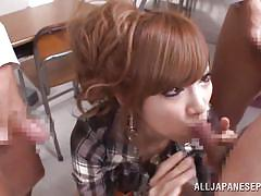 Horny japanese plays with student's cocks