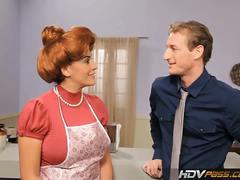 Redheaded milf raylene blows cock