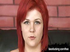 Trashy redheaded girl beth face-fucked