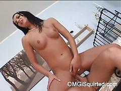 Slim brunette black cat squirts and eats sperm
