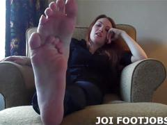 Put your hard cock between my soft little feet joi