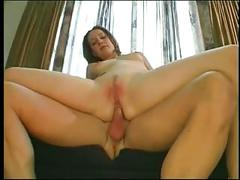 Cute brunette sucks dick, gets her ass stretched by a big cock