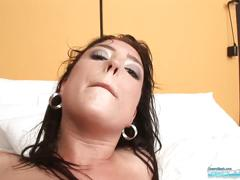 21 years brunette bijou first sex casting video with cumshot