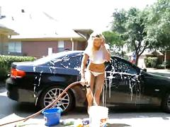 Hot blonde washes car & toys ass on cam