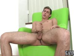 Horny and sexy oscar loves to play with his big uncut dick