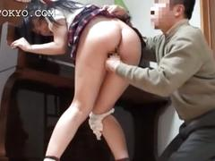Asian school babe blowing horny shaft on the floor