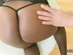 Black ebony cutie bounce on white dick round hot sexy butt