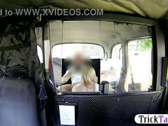 Wild blonde milf paid to give head and have sex in the cab