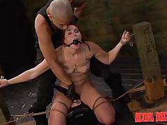 Redheaded sex slave chokes on his meat