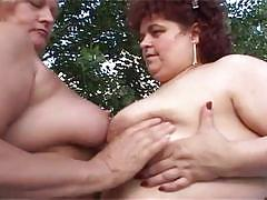 Outdoor pussy fun time with these lesbian heavy hitters