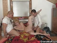 Two delivery man fucking the horny old lady