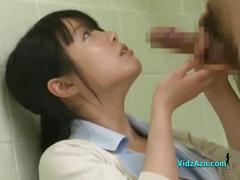 Asian nurse sucking a patients cock in the bathroom